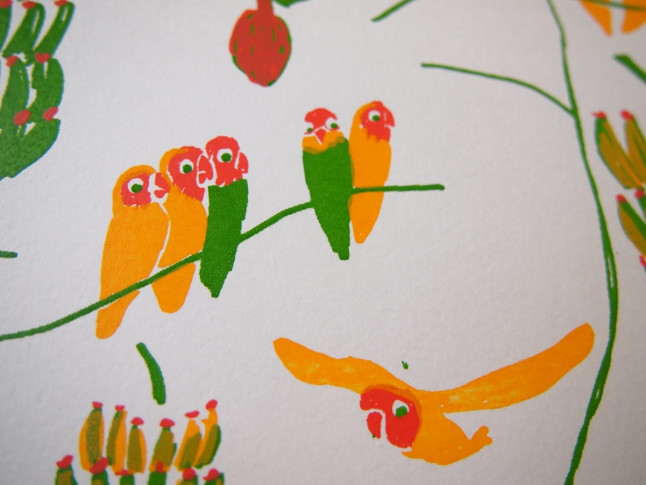 peach faced love birds detail
