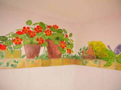 flower pot mural