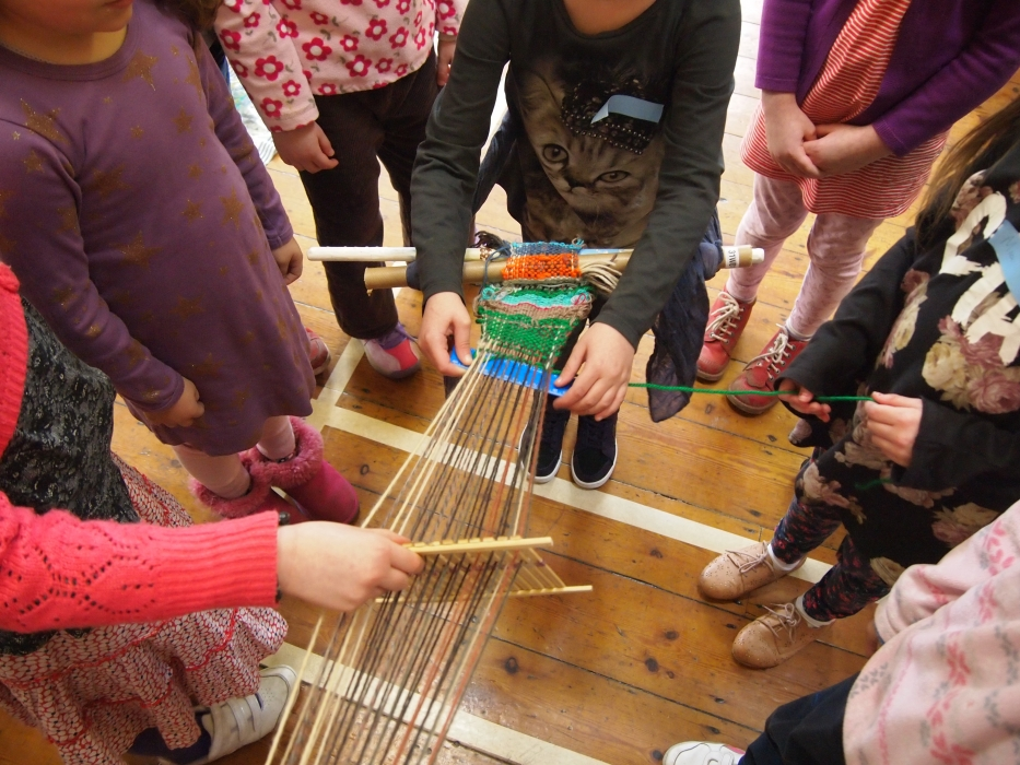 children backstrap weaving