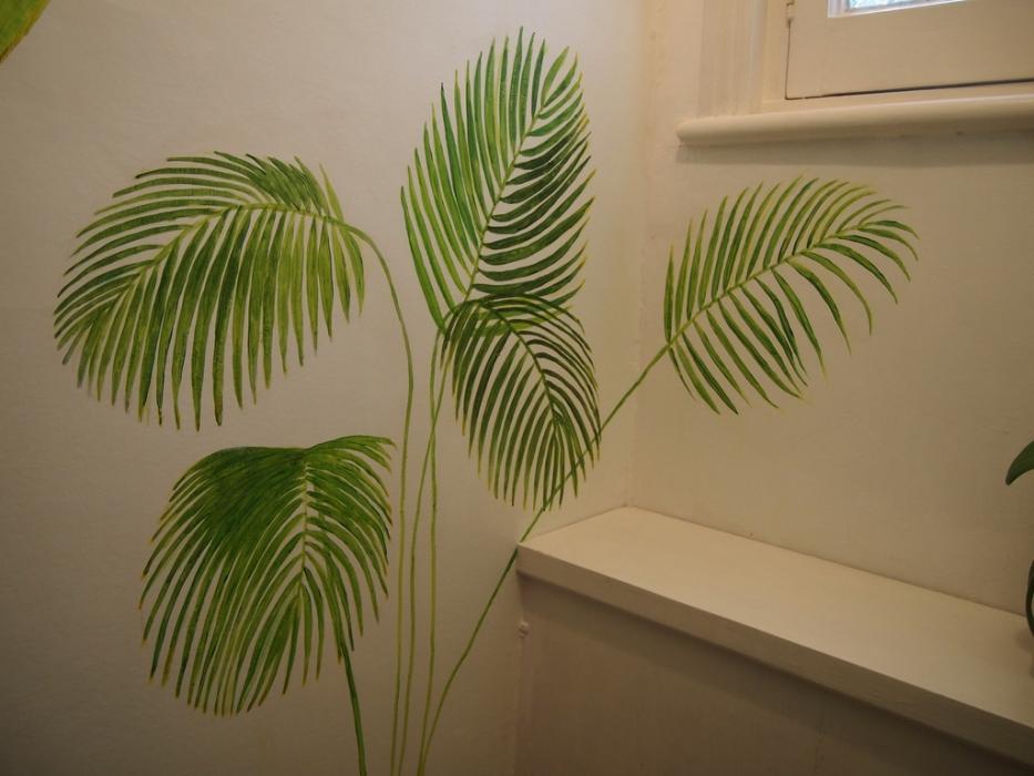 palm leaf mural