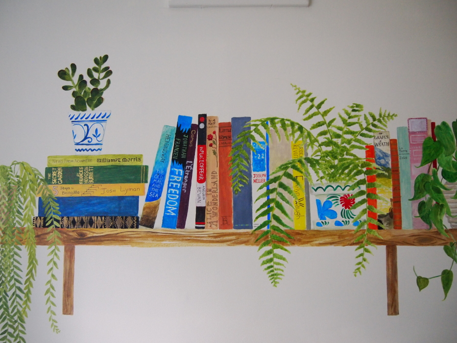 whole bookshelf mural shelfie dangly plants